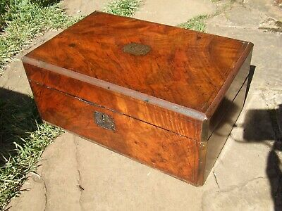Antique Victorian Walnut Brass Bound Writing Slope With Secret Drawers