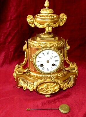 Beautifully Cast Antique French Gilt Bronze 8 Day Mantle Clock