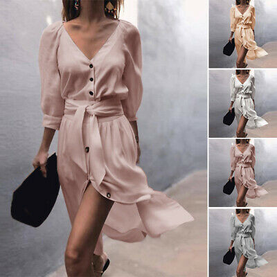 Women Dress Ladies Party Summer Button Down Dress Beach Lace Up Sundress