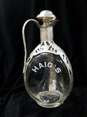 Vintage Haig's Sterling Silver Repousse Overlay/ Cased Decanter With Stopper