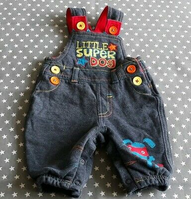 Stunning Baby Boys Super Dog Dungarees 0-3 Months Clothes George Funky