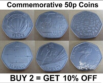 Collectible 50p Coins 1997 - 2019 Rare Potter Duck Jemima Olympics Football WWF