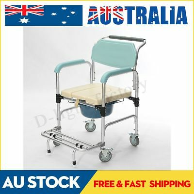 Commode Wheelchair Rolling Mobile Bedside Toilet Shower Chair Seat AU 3-in-1