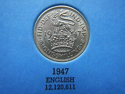 British GB King George VI English & Scottish Shilling Coins 1947 Cupro-Nickel
