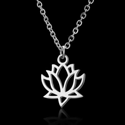 Chic Stainless Steel Silver Lotus Flower Pendant Necklace Family Party Women Hot
