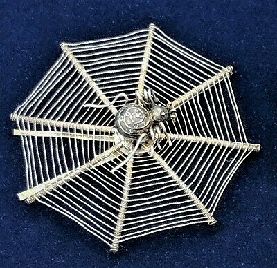 One Rare Antique Victorian Silver Spider Web Hair Ornament / Place Card Holder