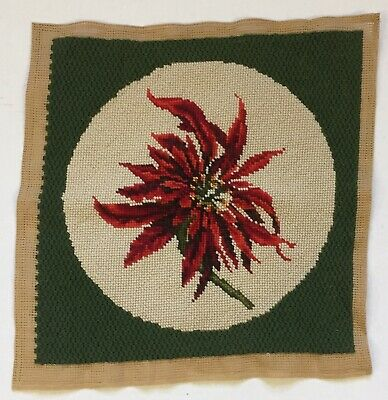 Poinsettia Completed Needlepoint Canvas Pillow Cover Wool Christmas Holiday