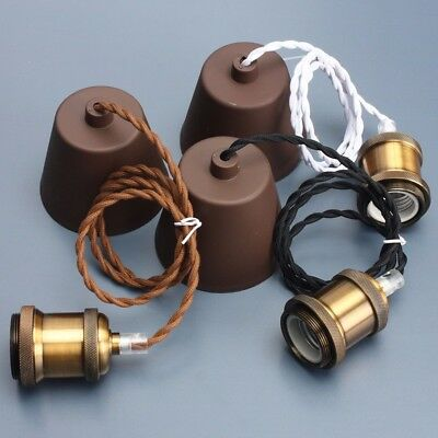 E27 Bronze Edison Vintage Light Bulb Pendant Kit Lamp Holder Ceiling Rose Cord
