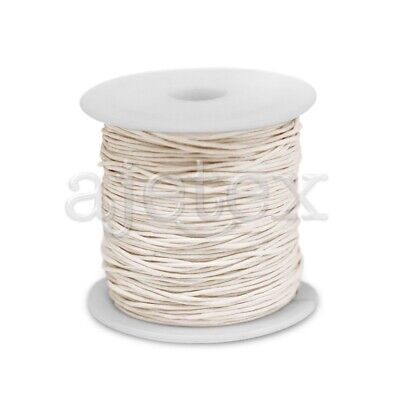 1 Roll 70M Waxed Cotton Cord Jewellery Craft Beading Thread Thong 0.8mm Beige
