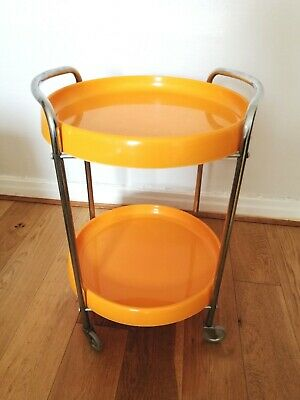 Funky Vintage Retro 60/70s Plastic & Chrome Orange Drinks Trolley on Castors