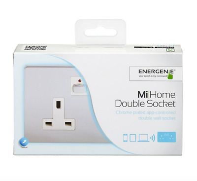💙 ENERGENIE® MiHome Smart Double Wall Socket - Chrome Plated - MIHO022