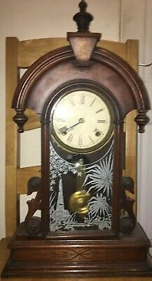 Antique American Mahogany Mantle Clock By W M L Gilbert