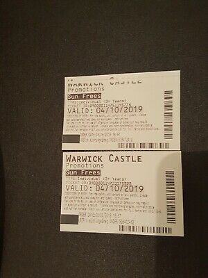 Two Warwick Castle Tickets for the 4th October 2019