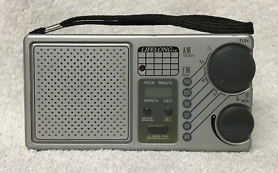 Vintage LIFELONG Model 845 AM & FM LCD Alarm Clock Transistor Radio Works Great