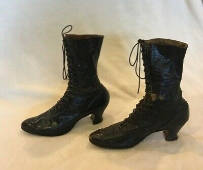 Antique Women's Victorian Boots Black Leather Lace Up 1900's Sz 5 approx