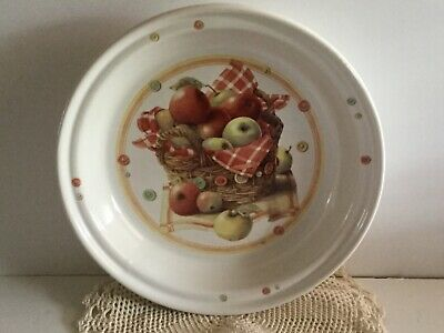 "Marjolein Bastin Autumn Apples & Buttons Dish / Bowl - 2 1/4"" H x11"" D - 1997"
