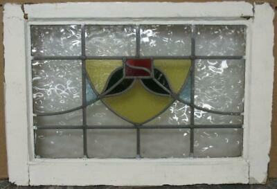 "MIDSIZE OLD ENGLISH LEAD STAINED GLASS WINDOW Abstract Floral Sweep 24"" x 16.25"""