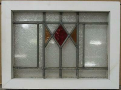"OLD ENGLISH LEADED STAINED GLASS WINDOW Pretty Geometric Design 18"" x 13.5"""