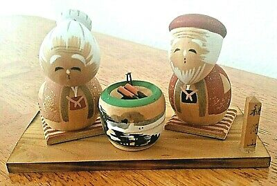 Vintage Japanese Miniature Kokeshi Doll Bobble Head Old Couple Hand Painted Rare