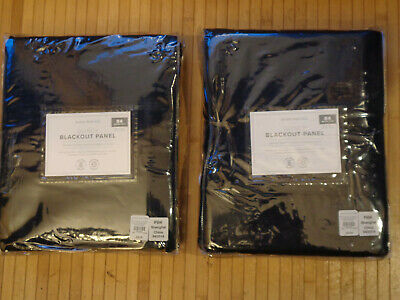 """Pottery Barn Kids Quincy Blackout Navy Blue 84"""" Panel Pair   New"""
