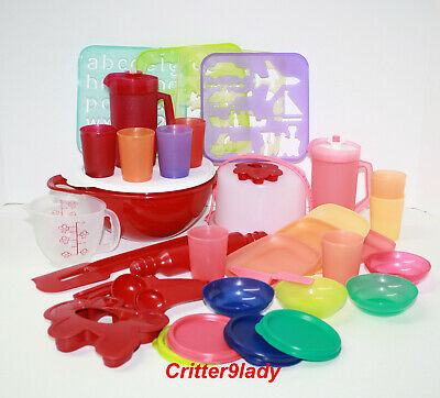 NEW Tupperware HUGE 31 pcs Childs Kids Cake Taker Mixing Bowl Stencils
