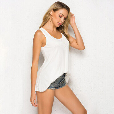 Womens Beach Tops Solid Button Wrap Summer Sleeveless Casual Stitching Ladies 6N