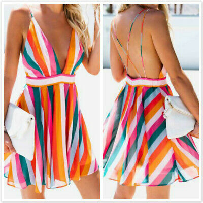 New Summer Sexy Bohemia Backless Colorful Striped Print V Neck Mini Dress 6N