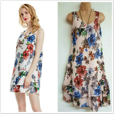 Womens Summer Double Layer Sleeveless Mini Dress Ladies Floral Boho Sundress 6N