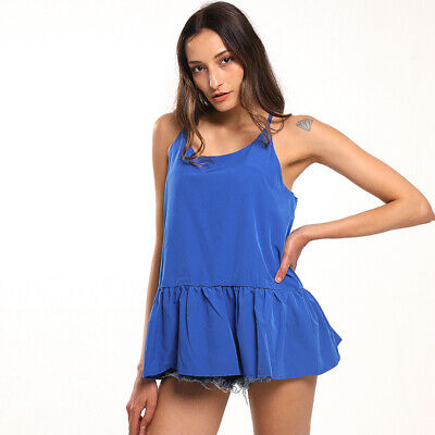 Women Casual Fashion Ruffle Sling Solid Color Summer Vest Loose Mini Dress 6N