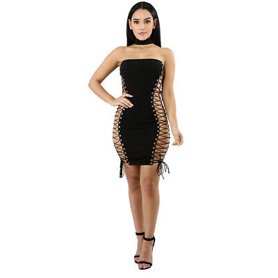 Summer Sexy Hollow Out Sleeveless Strapless Lace Up Solid Party Bodycon Dress 6N