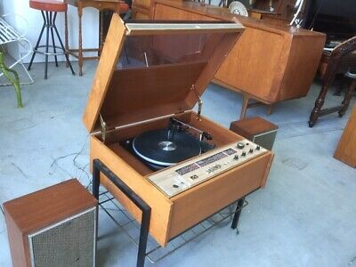 Retro HMV Imperial model Solid state stereo/radio console with speakers (working