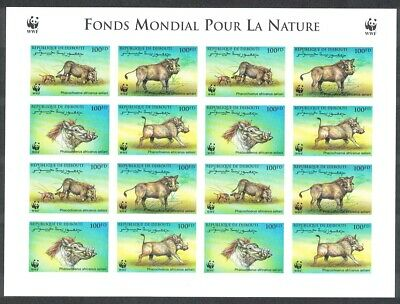 Djibouti WWF Eritrean Warthog Imperforated Sheetlet of 4 sets MNH SG#1192-1195