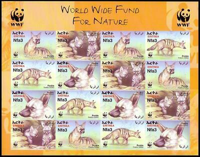 Eritrea WWF Aardwolf Imperforated Sheetlet of 4 sets MNH SG#488-491 MI#254B-257B