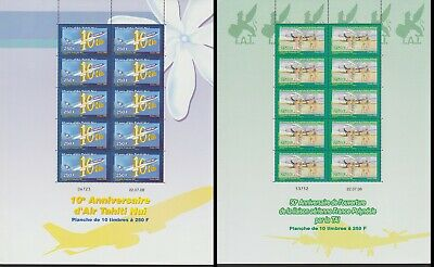 Fr. Polynesia Air Tahiti 2 Full Sheets MNH SG#1104-1105 MI#1056-1057 CV*220+