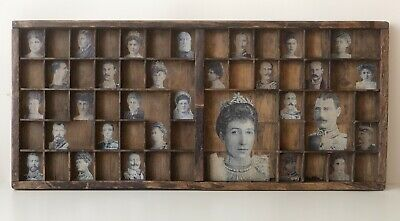 Quirky Monochrome Cabinet of Royalty Vintage Prints in Old Letterpress Type Case