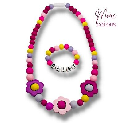 Fluffy Clouds Wooden Bead Personalised Necklace & Bracelet Set for Girls Kids