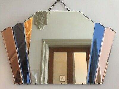 Art Deco 1930s Blue & Peach Vintage Frameless Fan Overmantle Mirror Antique m253