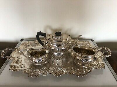 Stunning 3 Piece Silver Plated Tea Service With A Two Handled Chased Tray