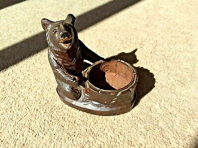 Antique German Black Forest Carved Bear pin tray/ tea light holder