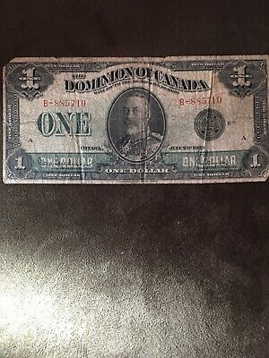 """1923 $1 One Dollar Dominion Of Canada Banknote """"Black Seal"""""""