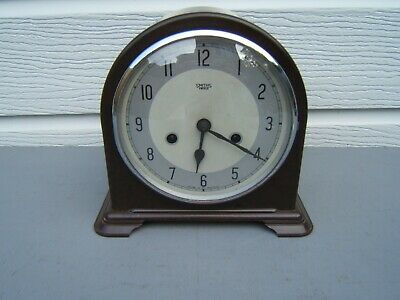"Smiths Bakelite mantel clock working dome top 8"" high clean original key/pen  B8"