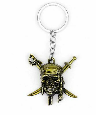 Pirates of the Caribbean Jack Sparrow Skull With Crossed Swords Metal Keychain