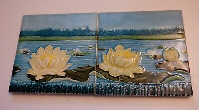 °  Awsome Set of 2 GERMAN tile ART NOUVEAU NSTG Waterlily Nenuphares Seerose