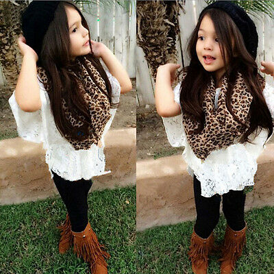 4PCS Toddler Baby Girl Vest+Lace Bat Shirt+Long Pants+Scarf Clothes Outfit AE