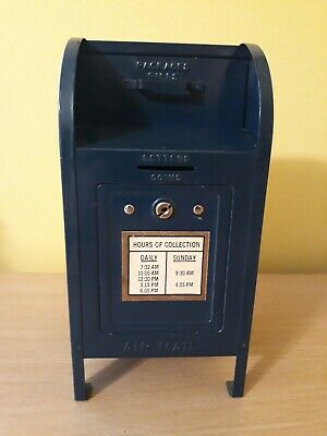 Vintage Tin Metal Brumberger USPS Post Office Mailbox Piggy Coin Bank 9""