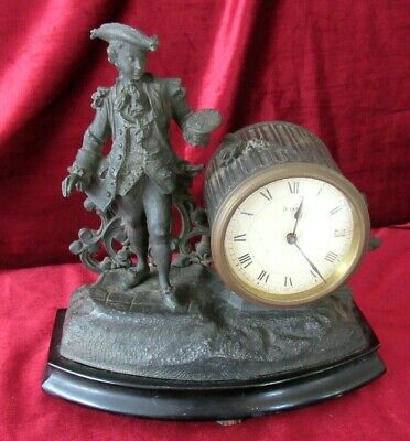 French 8 Day Mantle Clock with Period Figure