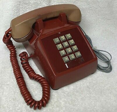 Vintage 1970s WESTERN ELECTRIC 2500D Series RED PushButton Desktop Telephone