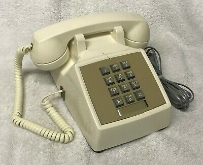Vintage 1970s WESTERN ELECTRIC 2500 Series WHITE PushButton Desktop Telephone