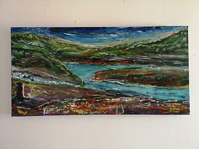 Signed 38x76 Oil Painting on canvas, landscape with river, impressionism