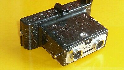 Coronet 3D Stereo Stereoscopic Camera 'Speckled' Bakelite, 1950 Working Shutter